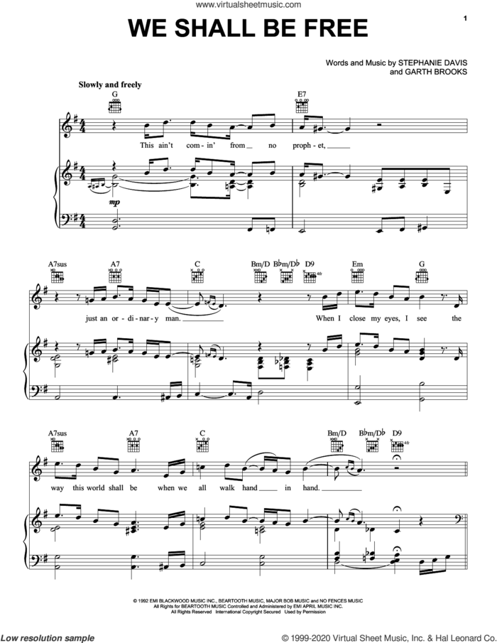 We Shall Be Free sheet music for voice, piano or guitar by Garth Brooks and Stephanie Davis, intermediate skill level