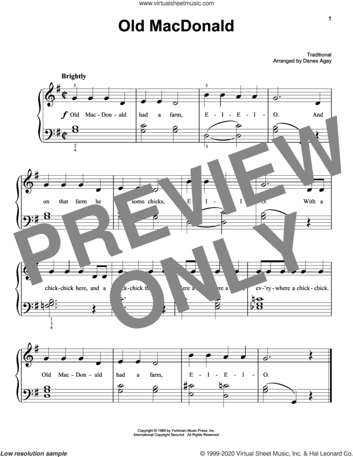 Old MacDonald (arr. Denes Agay) sheet music for piano solo by Traditional Children's Song and Denes Agay, easy skill level