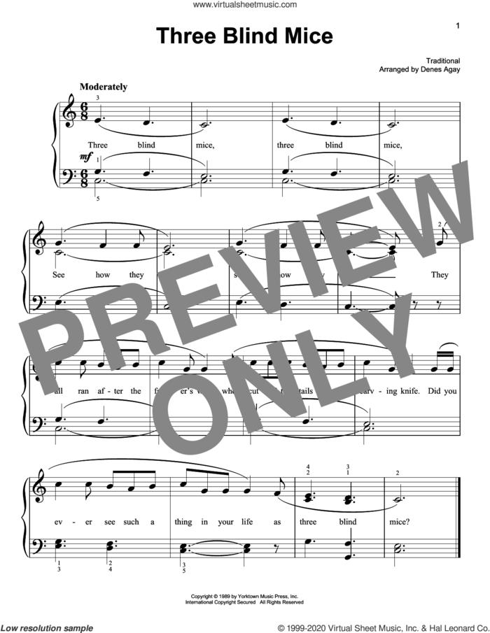Three Blind Mice (arr. Denes Agay) sheet music for piano solo  and Denes Agay, easy skill level
