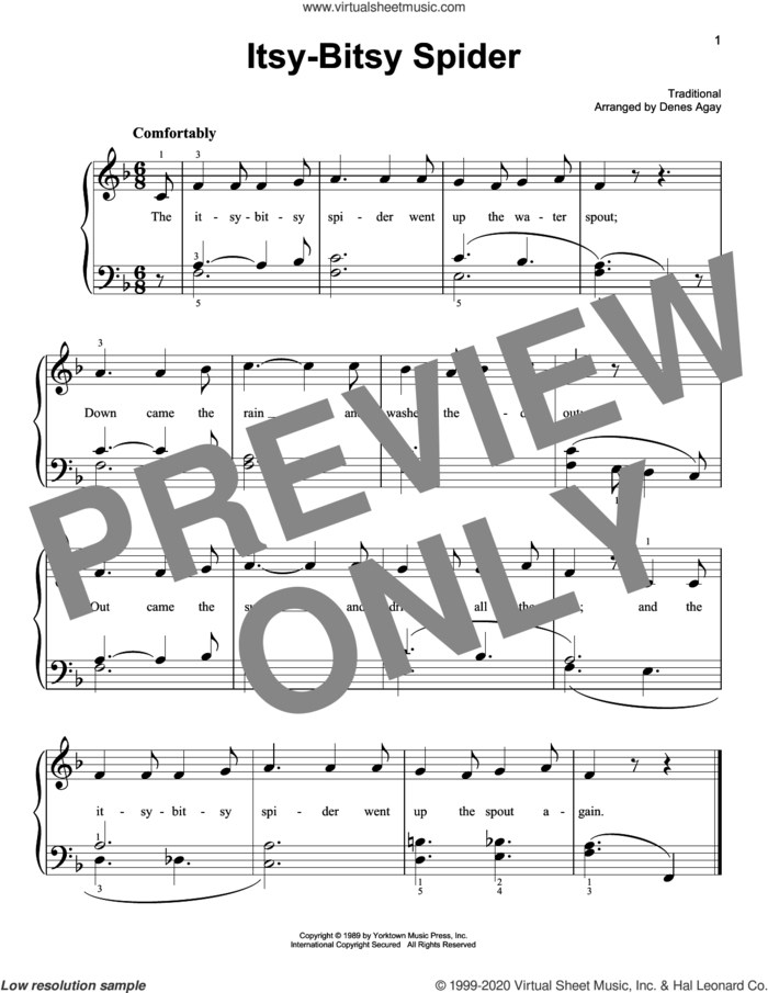 Itsy Bitsy Spider (arr. Denes Agay) sheet music for piano solo  and Denes Agay, easy skill level