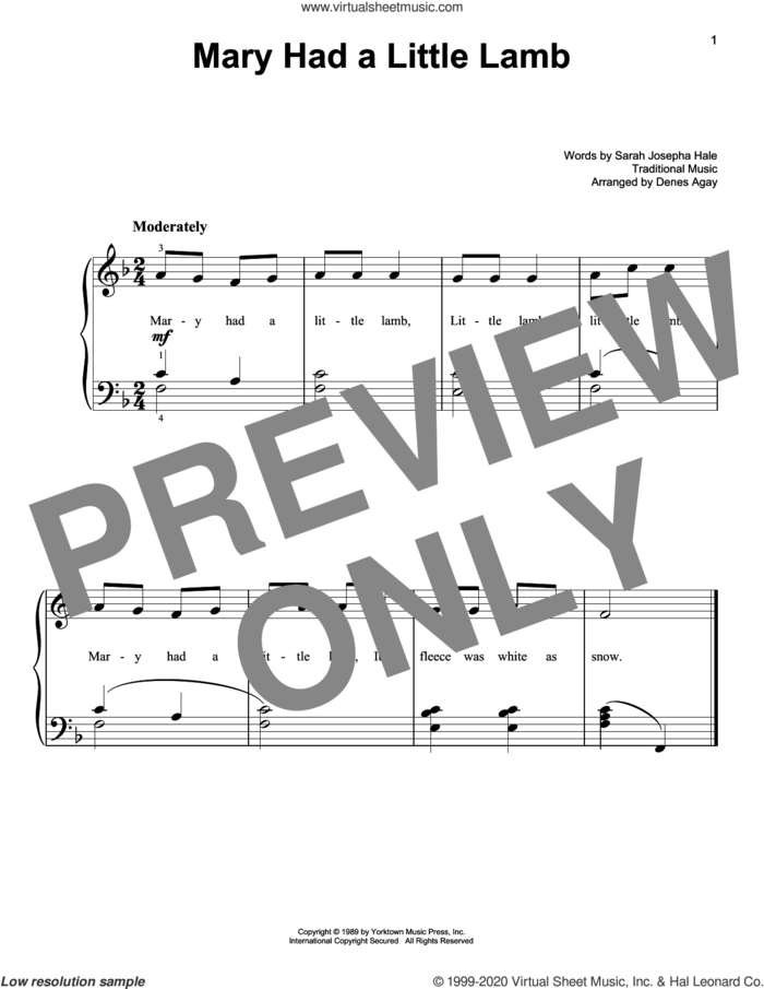 Mary Had A Little Lamb (arr. Denes Agay) sheet music for piano solo , Denes Agay and Sarah Josepha Hale, easy skill level