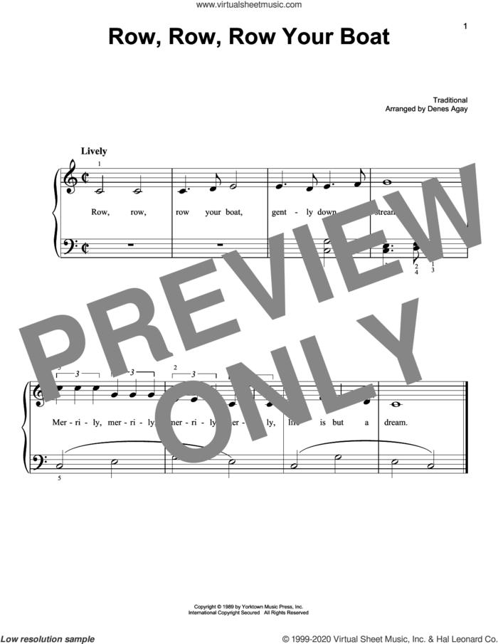 Row, Row, Row Your Boat (arr. Denes Agay) sheet music for piano solo  and Denes Agay, easy skill level