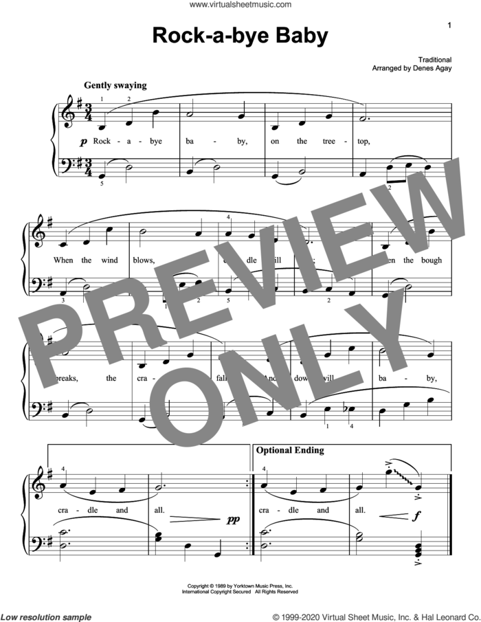Rock-A-Bye, Baby (arr. Denes Agay) sheet music for piano solo  and Denes Agay, easy skill level