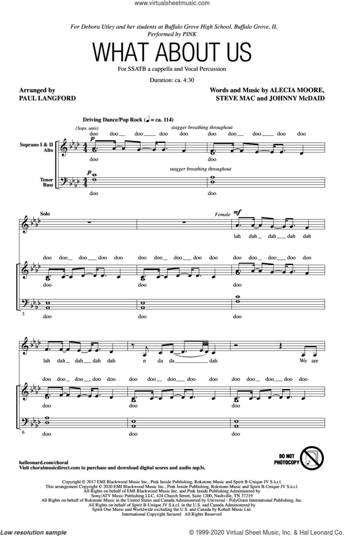What About Us (arr. Paul Langford) sheet music for choir (SATB: soprano, alto, tenor, bass) by Steve Mac, Paul Langford, Miscellaneous, Alecia Moore and Johnny McDaid, intermediate skill level