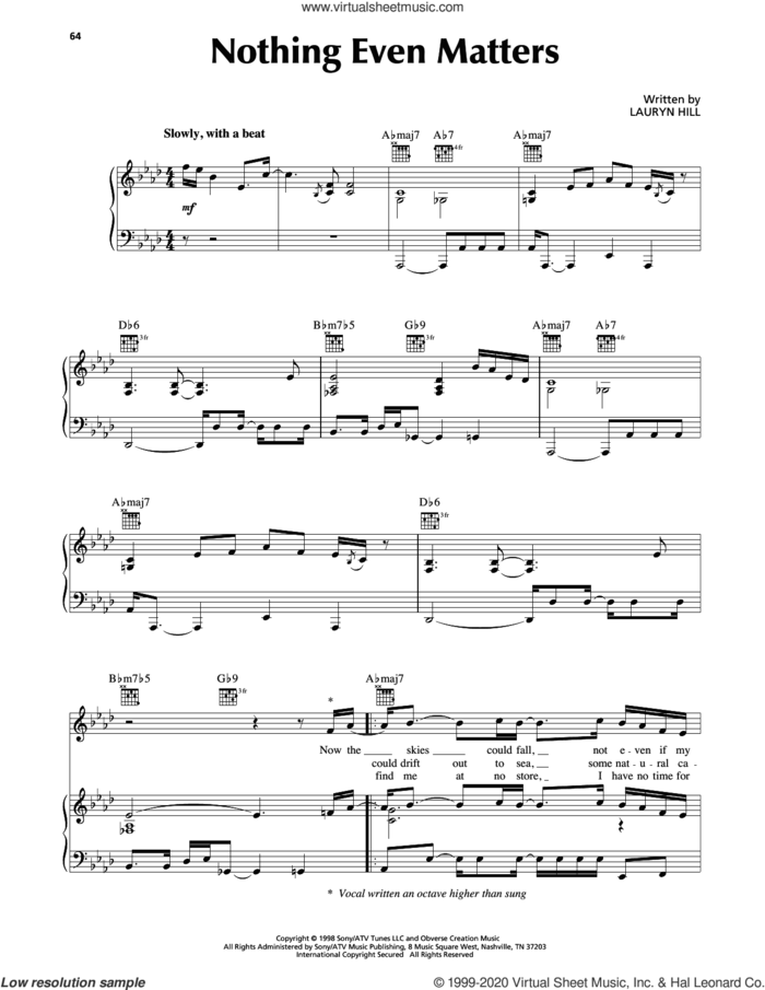 Nothing Even Matters sheet music for voice, piano or guitar by Lauryn Hill, intermediate skill level
