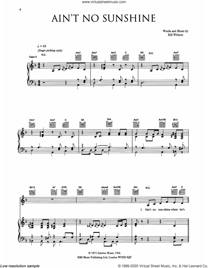 Ain't No Sunshine sheet music for voice, piano or guitar by Eva Cassidy and Bill Withers, intermediate skill level