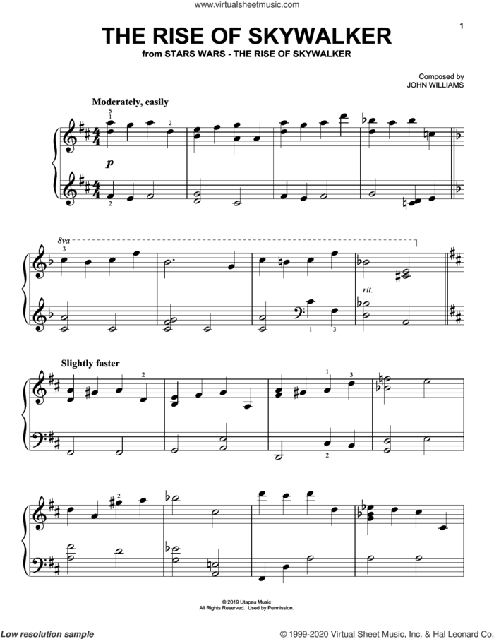 The Rise Of Skywalker (from The Rise Of Skywalker), (easy) sheet music for piano solo by John Williams, easy skill level