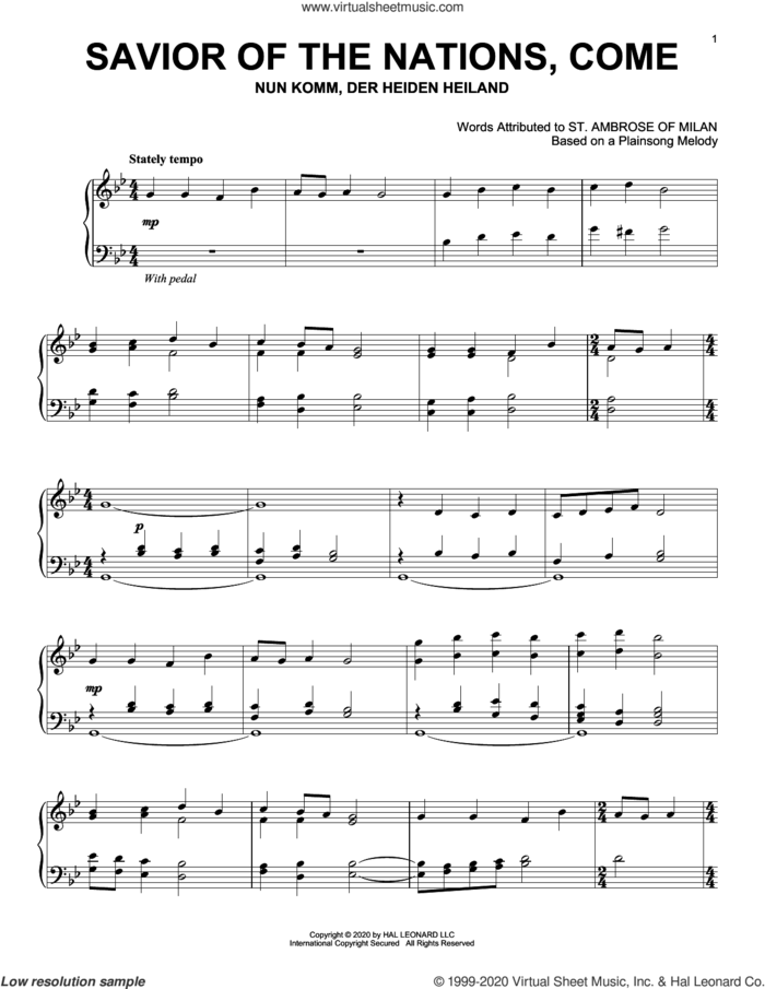 Savior Of The Nations, Come sheet music for piano solo by Plainsong Melody and St. Ambrose of Milan, intermediate skill level