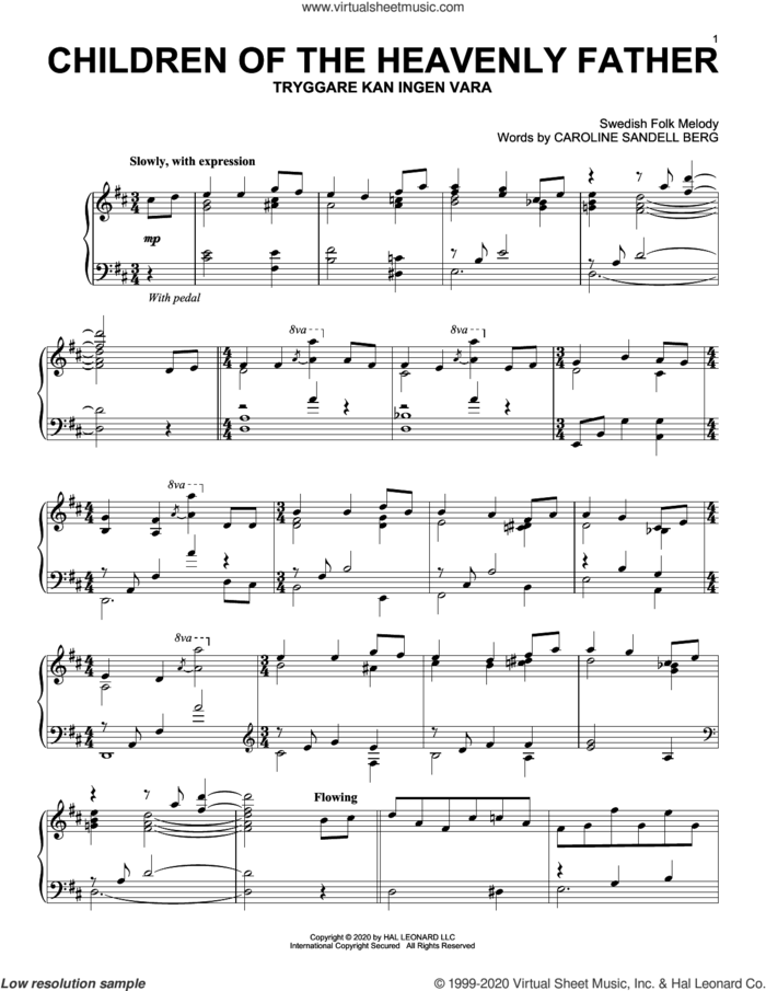 Children Of The Heavenly Father sheet music for piano solo by Swedish Folk Melody and Caroline Sandell Berg, intermediate skill level