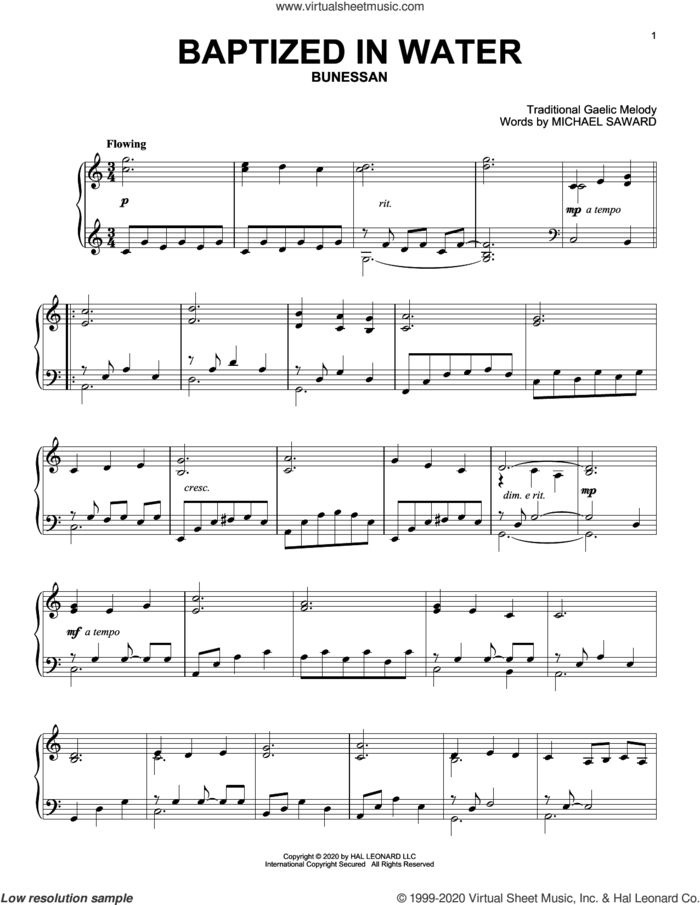 Baptized In Water sheet music for piano solo by Michael Saward and Miscellaneous, intermediate skill level