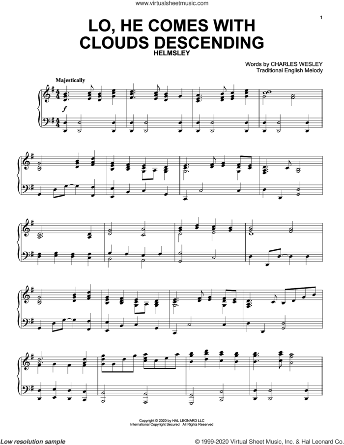 Lo, He Comes With Clouds Descending sheet music for piano solo by Charles Wesley and Miscellaneous, intermediate skill level