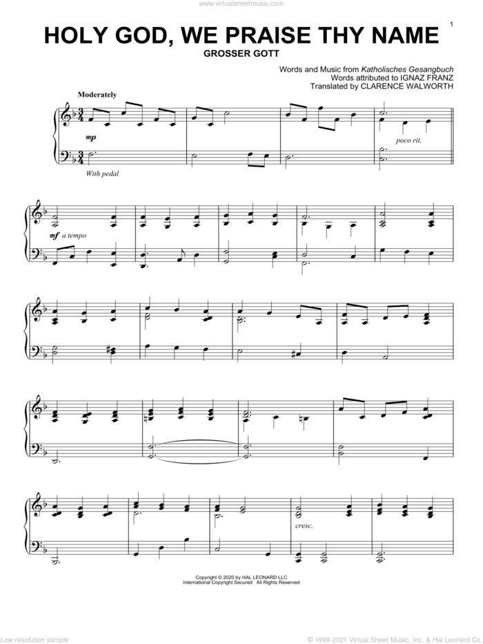 Holy God, We Praise Thy Name sheet music for piano solo by Katholisches Gesangbuch, Clarence Walworth and Ignaz Franz, intermediate skill level