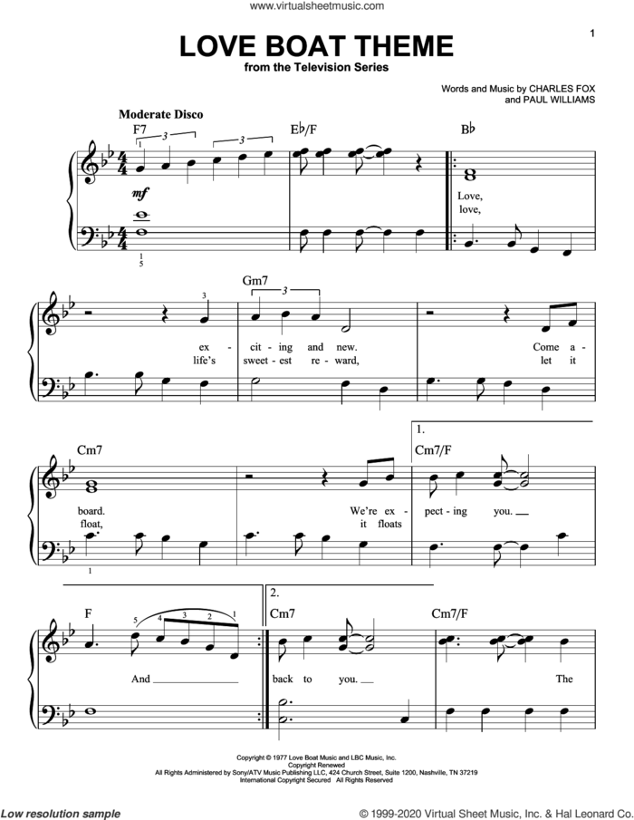 Love Boat Theme sheet music for piano solo by Paul Williams, Charles Fox and Charles Fox and Paul Williams, beginner skill level