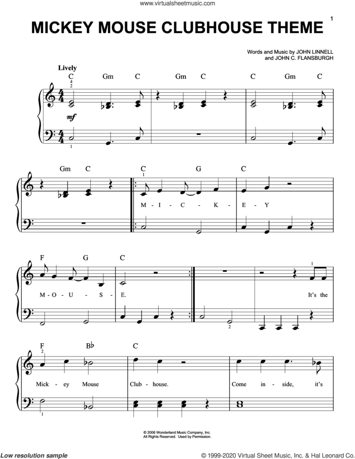 Mickey Mouse Clubhouse Theme sheet music for piano solo by John C. Flansburgh, John Flansburgh & John Linnell and John Linnell, beginner skill level