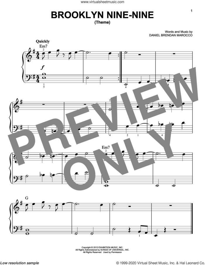 Brooklyn Nine-Nine (Theme) sheet music for piano solo by Daniel Brendan Marocco, beginner skill level