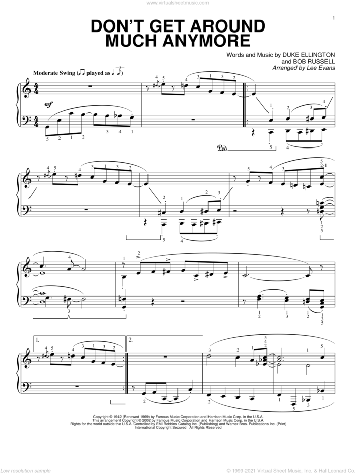 Don't Get Around Much Anymore sheet music for piano solo by Duke Ellington, Lee Evans and Bob Russell, intermediate skill level
