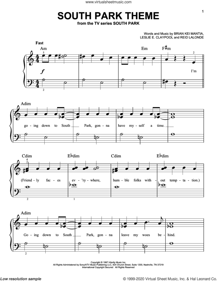 South Park Theme sheet music for piano solo by Primus, Bryan Kei Mantia, Leslie E. Claypool and Reid Lalonde, beginner skill level