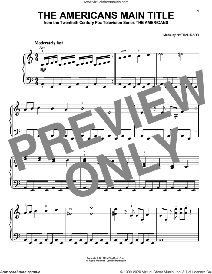 The Americans Main Title sheet music for piano solo by Nathan Barr, beginner skill level