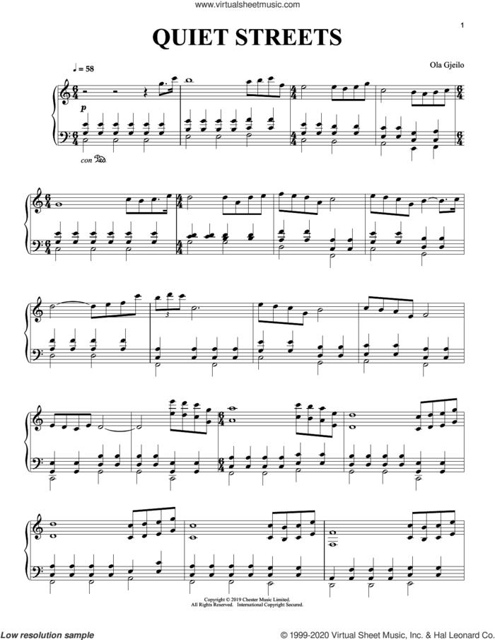 Quiet Streets sheet music for piano solo by Ola Gjeilo, classical score, intermediate skill level