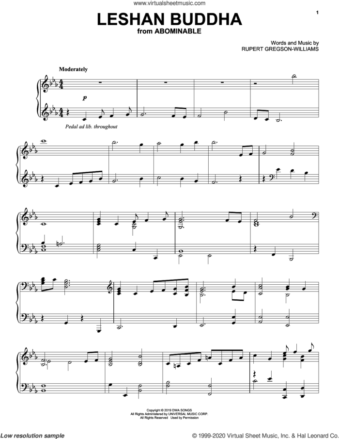 Leshan Buddha (from the Motion Picture Abominable) sheet music for piano solo by Rupert Gregson-Williams, intermediate skill level