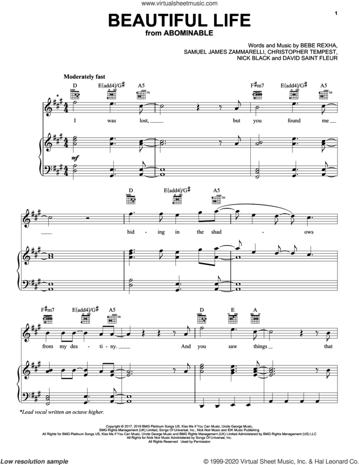 Beautiful Life (from the Motion Picture Abominable) sheet music for voice, piano or guitar by Bebe Rexha, Christopher Tempest, David Saint Fleur, Nick Black and Samuel James Zammarelli, intermediate skill level