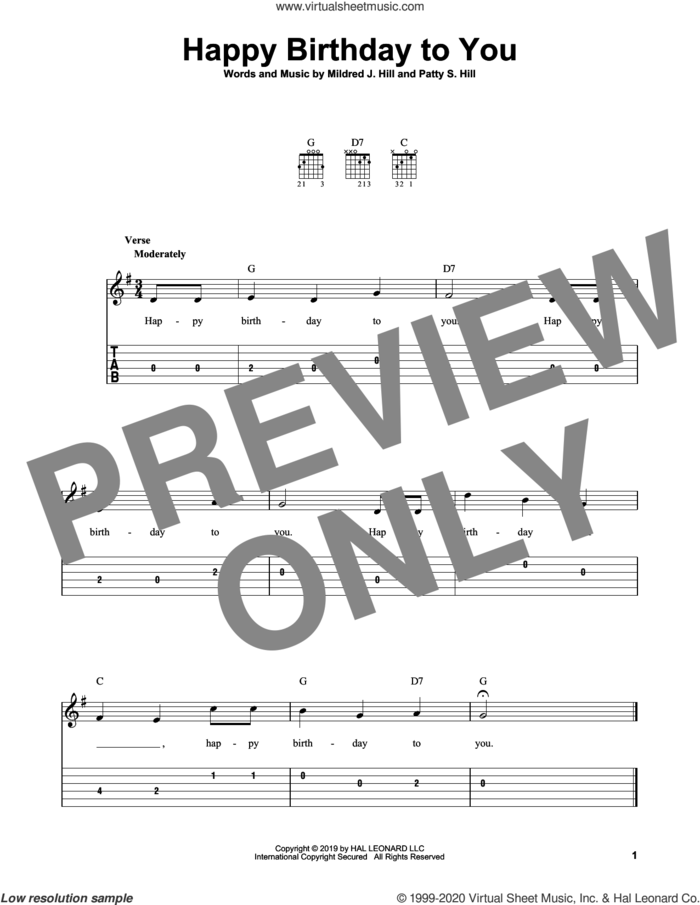 Happy Birthday To You sheet music for guitar solo (easy tablature) by Patty Smith Hill, Mildred & Patty Hill and Mildred J. Hill, easy guitar (easy tablature)