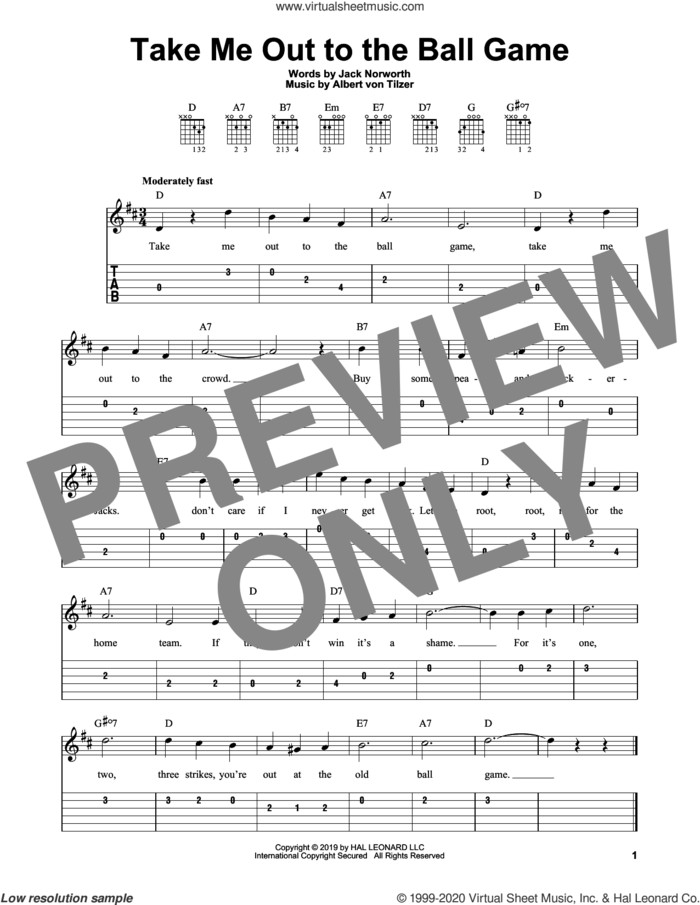 Take Me Out To The Ball Game sheet music for guitar solo (easy tablature) by Albert von Tilzer, Jack Norworth and Jack Norworth and Albert von Tilzer, easy guitar (easy tablature)