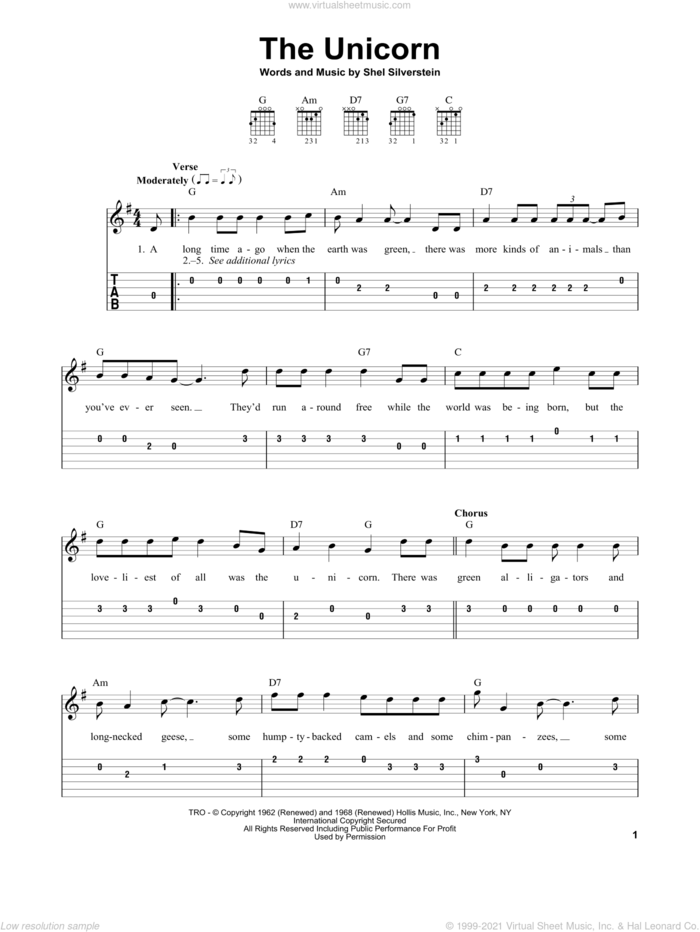The Unicorn sheet music for guitar solo (easy tablature) by Irish Rovers and Shel Silverstein, easy guitar (easy tablature)