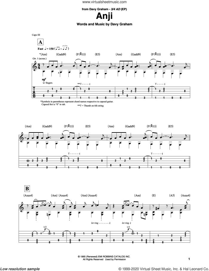 Anji sheet music for guitar solo by Davy Graham, intermediate skill level