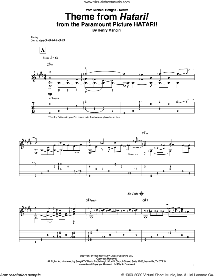 Theme From Hatari! sheet music for guitar solo by Henry Mancini, intermediate skill level