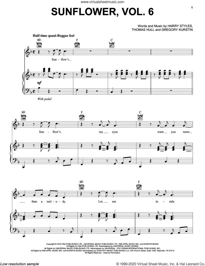 Sunflower, Vol. 6 sheet music for voice, piano or guitar by Harry Styles, Gregory Kurstin and Tom Hull, intermediate skill level