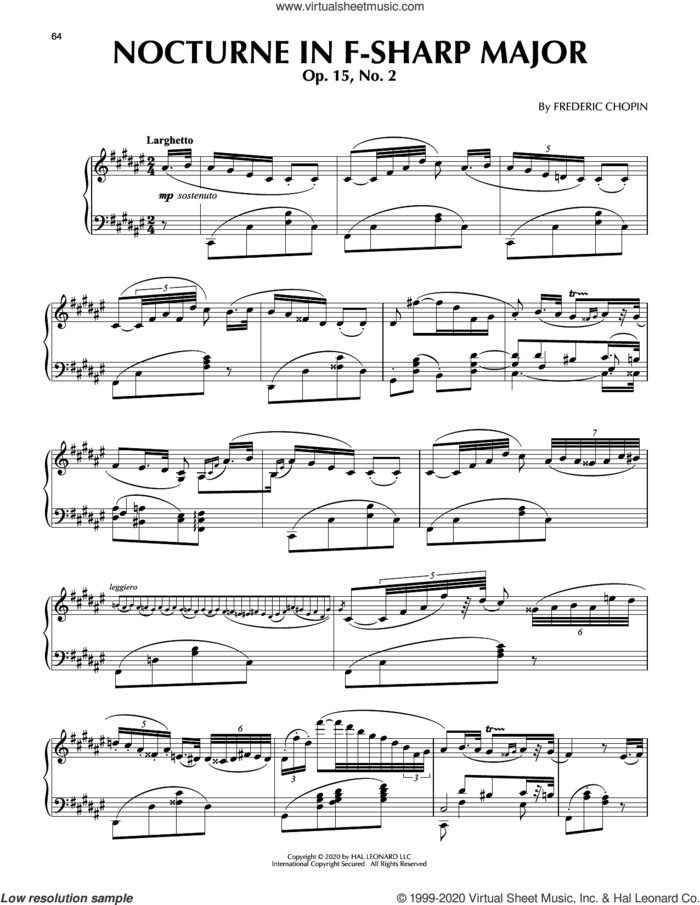 Nocturne In F Sharp Major, Op. 15, No. 2 sheet music for piano solo by Frederic Chopin, classical score, intermediate skill level