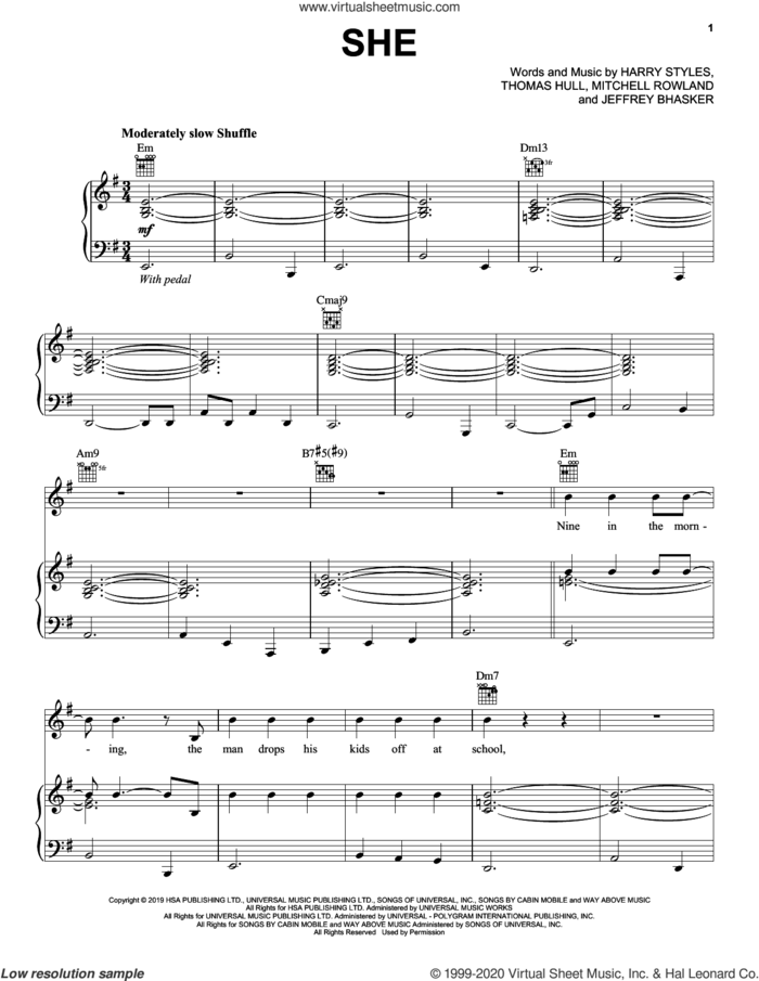 She sheet music for voice, piano or guitar by Harry Styles, Jeffrey Bhasker, Mitchell Rowland and Tom Hull, intermediate skill level