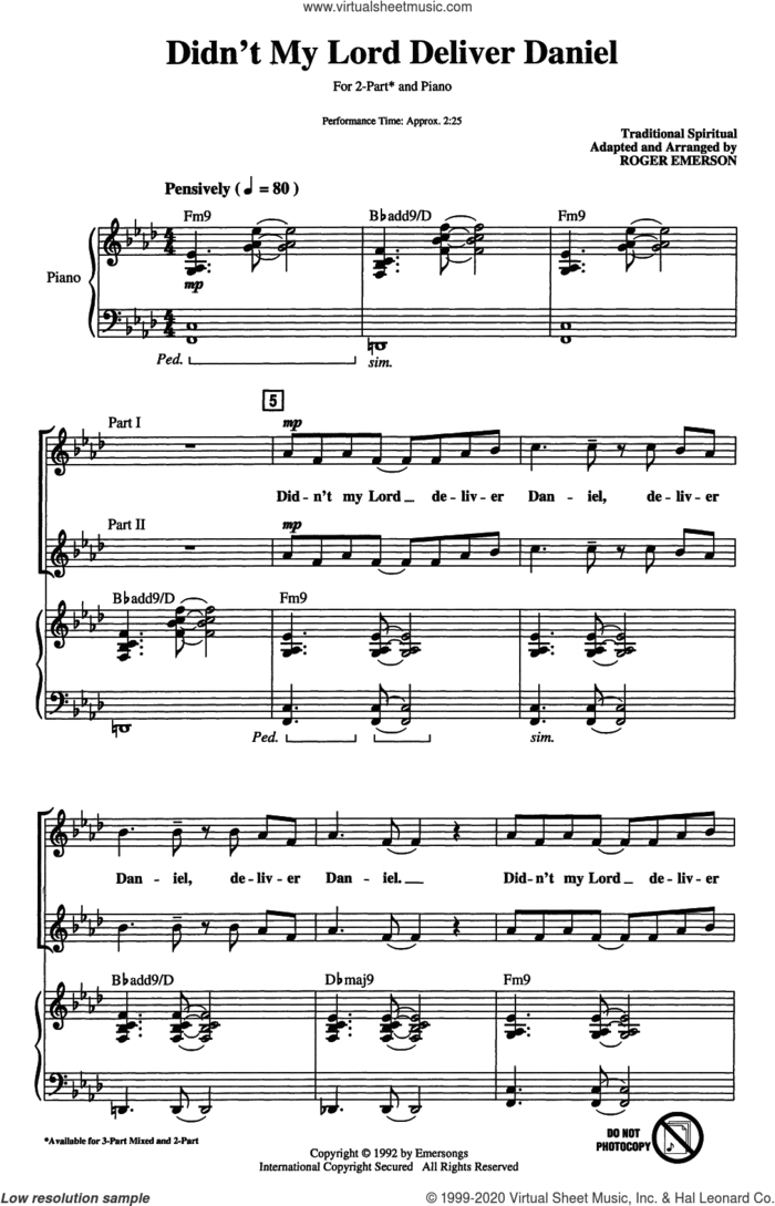Didn't My Lord Deliver Daniel (arr. Roger Emerson) sheet music for choir (2-Part)  and Roger Emerson, intermediate duet