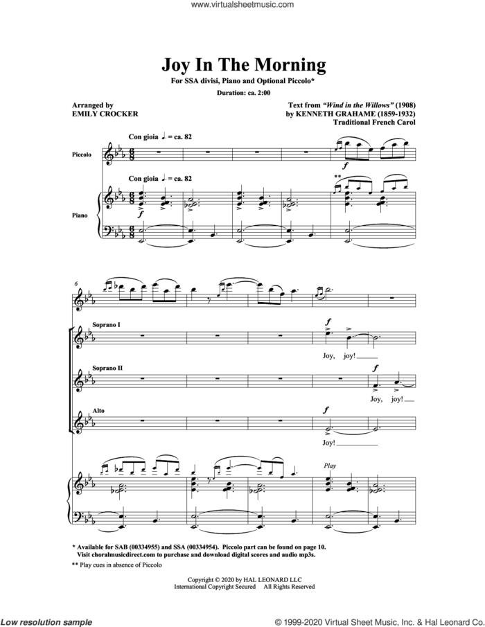 Joy In The Morning sheet music for choir (SSA: soprano, alto) by Emily Crocker, intermediate skill level