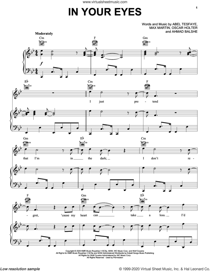 In Your Eyes sheet music for voice, piano or guitar by The Weeknd, Abel Tesfaye, Ahmad Balshe, Max Martin and Oscar Holter, intermediate skill level