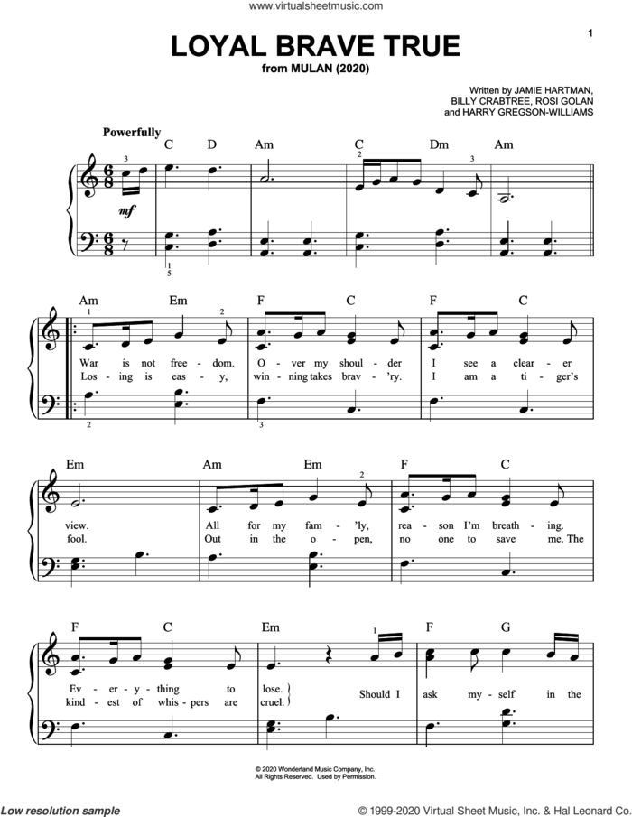 Loyal Brave True (from Mulan) sheet music for piano solo by Christina Aguilera, Billy Crabtree, Harry Gregson-Williams, Jamie Hartman and Rosi Golan, easy skill level