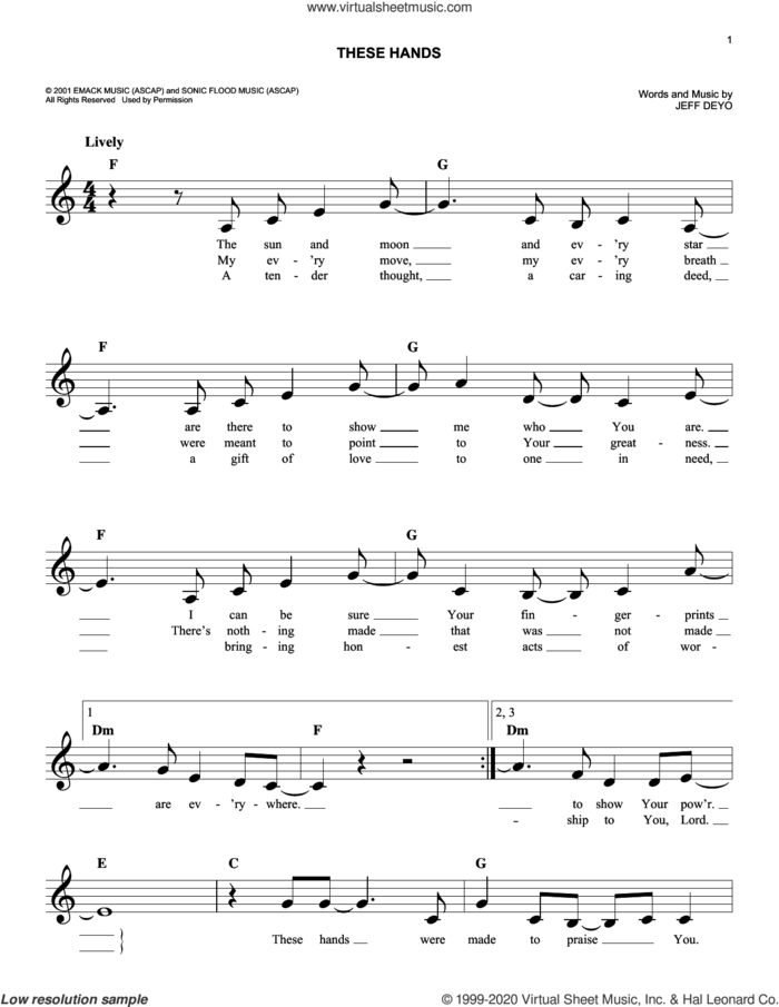 These Hands sheet music for voice and other instruments (fake book) by Jeff Deyo, intermediate skill level