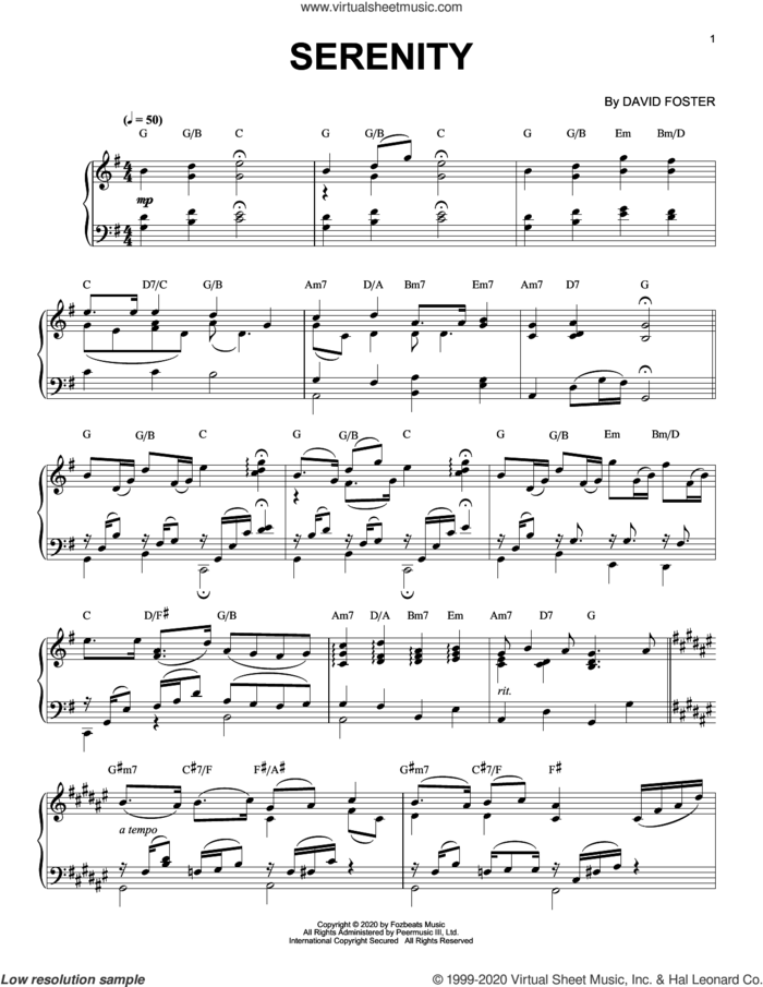 Serenity sheet music for piano solo by David Foster, classical score, intermediate skill level