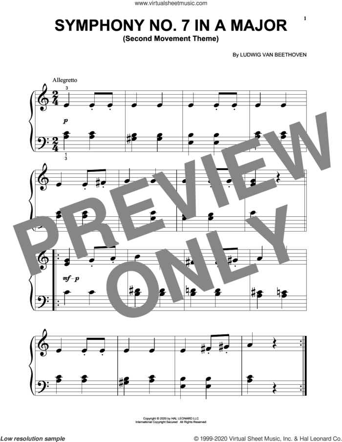 Symphony No. 7 In A Major, Second Movement (Allegretto) sheet music for piano solo (big note book) by Ludwig van Beethoven, classical score, easy piano (big note book)