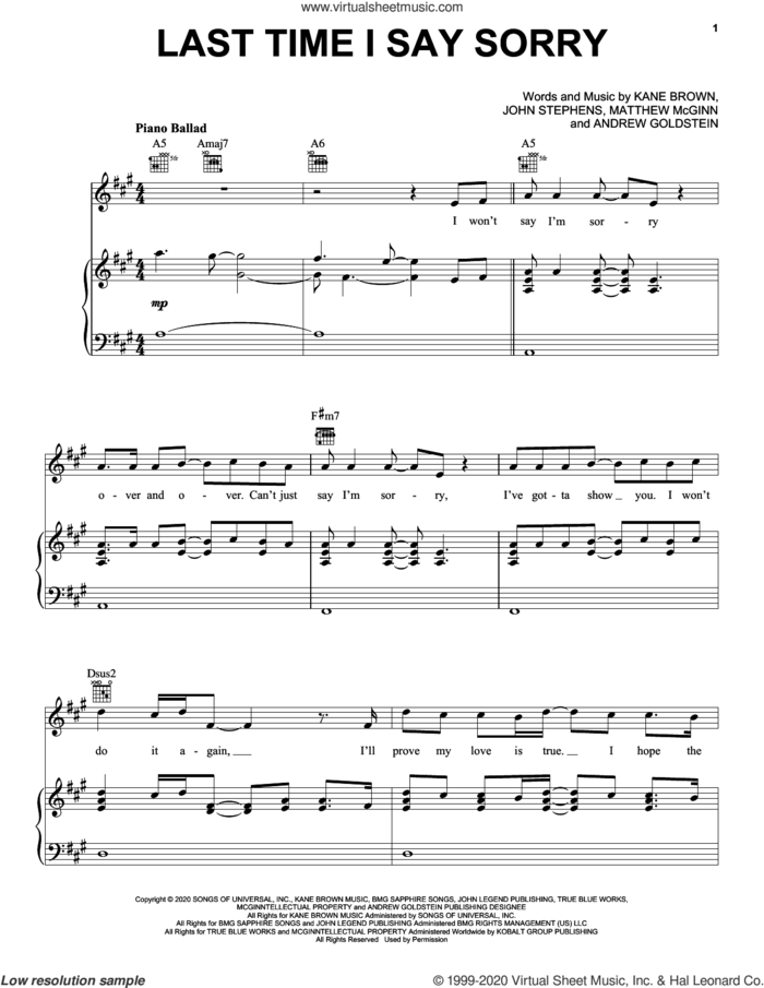 Last Time I Say Sorry sheet music for voice, piano or guitar by Kane Brown & John Legend, Andrew Goldstein, John Stephens, Kane Brown and Matthew McGinn, intermediate skill level