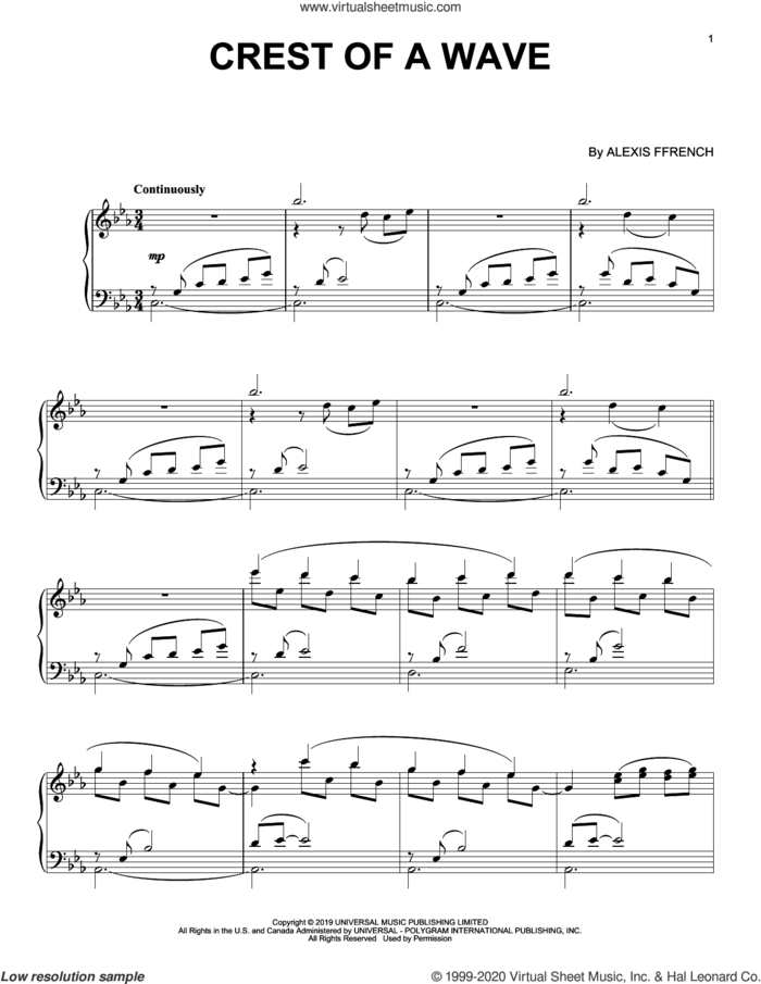 Crest Of A Wave sheet music for piano solo by Alexis Ffrench, intermediate skill level