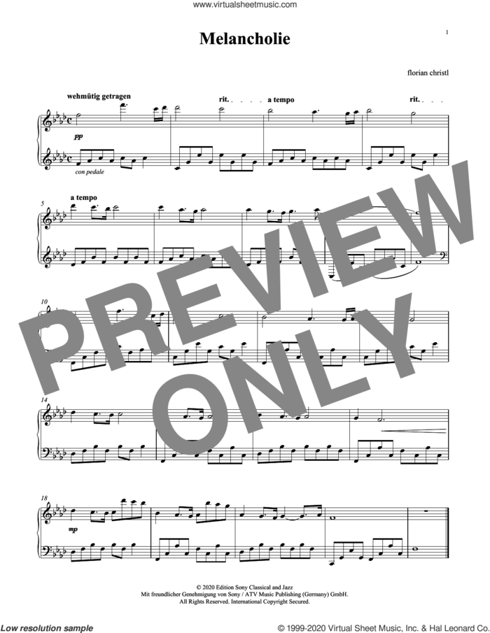 Melancholie sheet music for piano solo by Florian Christl, intermediate skill level