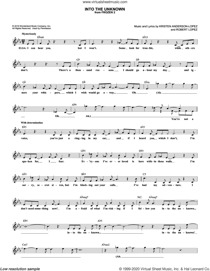 Into The Unknown (from Disney's Frozen 2) sheet music for voice and other instruments (fake book) by Idina Menzel and AURORA, Kristen Anderson-Lopez and Robert Lopez, intermediate skill level