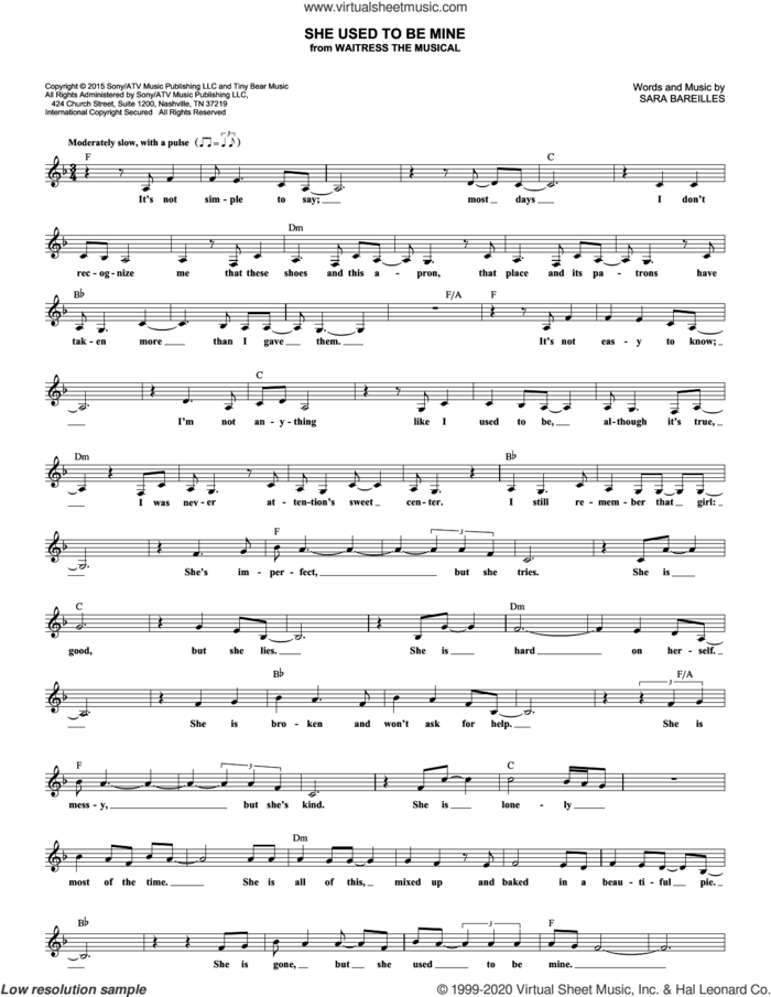 She Used To Be Mine (from Waitress the Musical) sheet music for voice and other instruments (fake book) by Sara Bareilles, intermediate skill level
