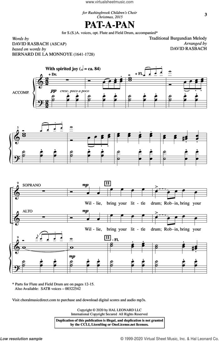 Pat-A-Pan (arr. David Rasbach) sheet music for choir (SSA: soprano, alto) by Traditional Burgundian Melody and David Rasbach, intermediate skill level