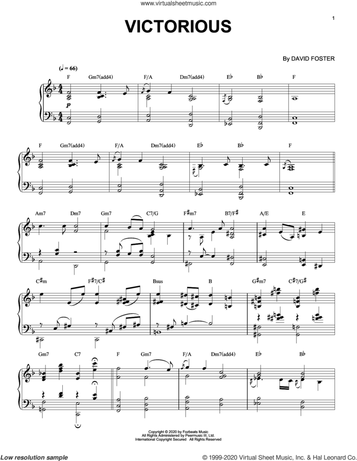 Victorious sheet music for piano solo by David Foster, intermediate skill level