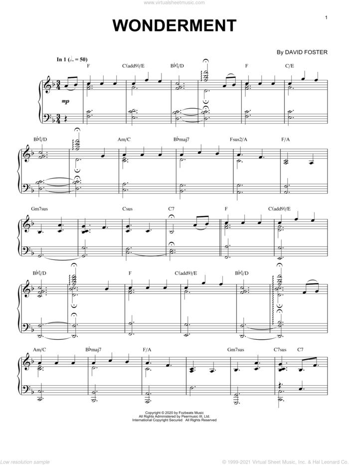 Wonderment sheet music for piano solo by David Foster, intermediate skill level