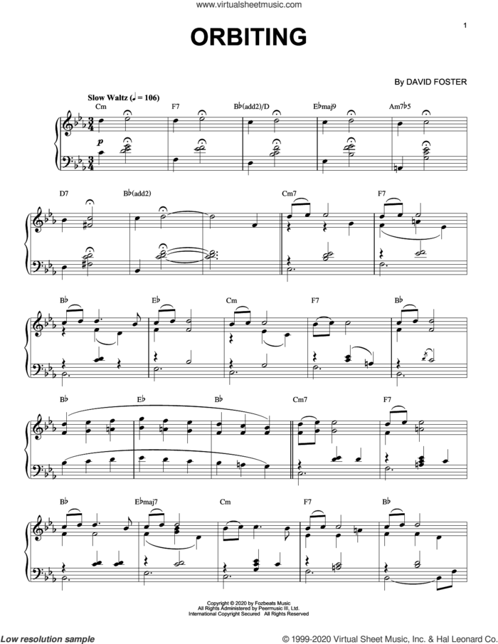 Orbiting sheet music for piano solo by David Foster, intermediate skill level