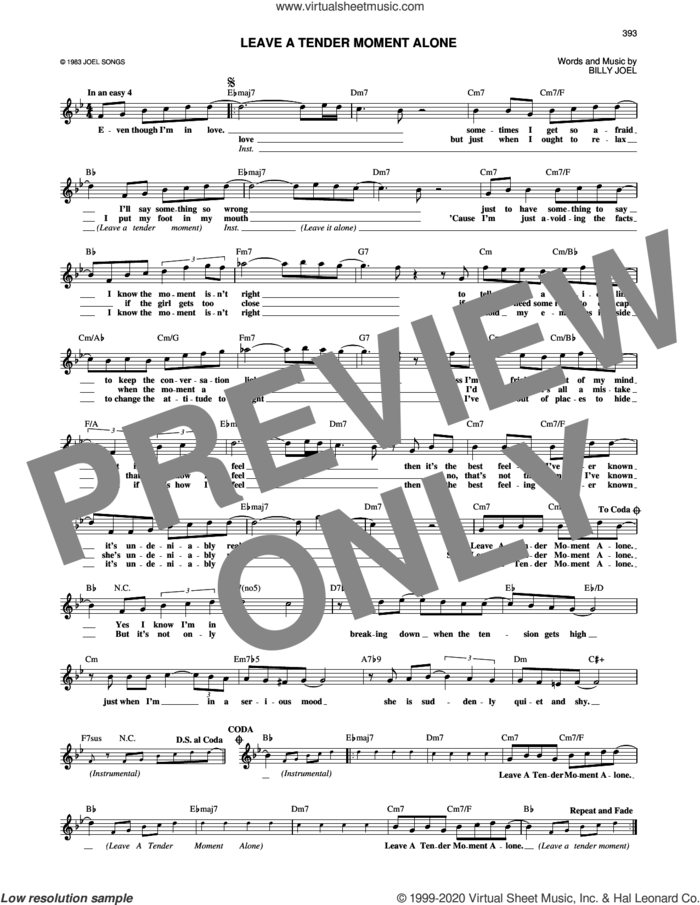 Leave A Tender Moment Alone sheet music for voice and other instruments (fake book) by Billy Joel, intermediate skill level